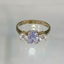 Trilogy Ring 9ct Yellow Gold Diamond & Amethyst Simulant   Pristine Condition