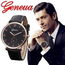 Neu Klassis Herren Armbanduhren Römisch Digital Leder Analog Quarz Geschäft Uhr