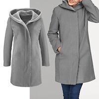 warmer Mantel Gr.34/36 Wintermantel Boucle wattiert Wollmantel JACKE Kapuze grau