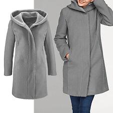 warmer Mantel Gr.42/44 Wintermantel Boucle wattiert Wollmantel JACKE Kapuze grau