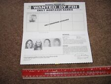 Original WANTED POSTER Emily Harris 1974 Black Panthers Power Patty Hearst FBI
