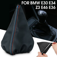 Black Leather Shifter Shift Lever Boot Cover For BMW E30 E34 Z3 E46 E36 M3 325i