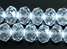 50 Pcs Sparkly AB White Flat Round Rondelle Crystal Loose Beads 10x8 Mm