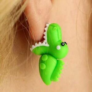 Cute Retro Style 3D Biting CROCDILE  Novelty Stud Earrings Gift Dress Accessory