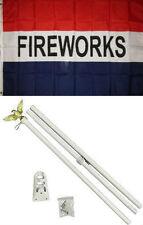 3x5 Advertising Fireworks Red White Blue Flag White Pole Kit Set 3'x5'