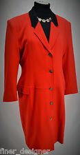TAKEZO of SPAIN LIGHT red wool JACKET Dress coat button Long Blazer 9 M NEW VTG