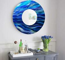Large Round Blue Metal Mirror Wall Art Home Decor Accent Sculpture by Jon Allen