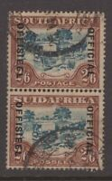 South Africa 1931 2/6d bi-lingual pair OFFICIAL overprint sg 011 Cv £190