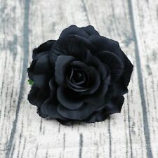 5P Artificial Silk Large Fake Black Rose Flower Heads Bulk Gothic Wedding Decor