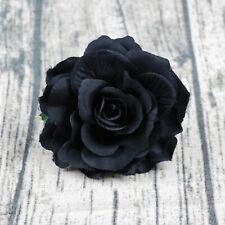 5P Artificial Silk Large Fake Black Rose Flower Heads Bulk Craft Wedding Decor