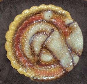 """HTF 13"""" Heavy Better Homes & Gardens Ceramic 3D Turkey Serving Plate Platter"""