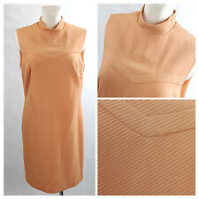 Vintage 60's Dress Mod Gogo Peach Sleeveless Scooter Twiggy Wiggle UK18 EU44