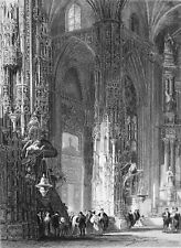 SPAIN - XERES: INSIDE THE CHURCH SAN MIGUEL in 19e c. - Engraving from 19th