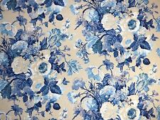 P Kaufmann COBALT BLUE Floral Home Decor Drapery Upholstery Sewing Fabric Cloth