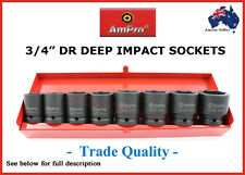 "3/4"" DR IMPACT SOCKET SET AMPRO PROFESSIONAL QUALITY AIR TOOLS WRENCH GUN"
