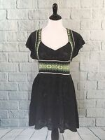 Free People Gray Pointelle Acrylic Knit Fit & Flare Sweater Dress EUC Medium