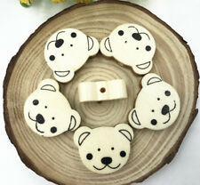 50pcs Natural Wooden Bear Spacer Beading Beads Baby Pacifier Clip Wood Bead