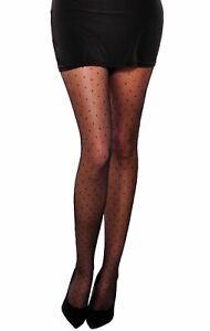 Women black sheer tights polka dot small dots pattern 20 den Vesa