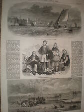 Scotland fishing villages of Dysart and Newhaven 1862 old prints