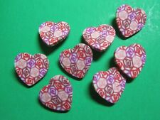 "(8) 1"" HEART-SHAPE PINK TONES PLASTIC CRAFT EMBELLISHMENT BUTTONS NEW (H428)"