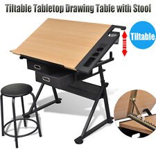 Tiltable Tabletop Drawing Table with Stool Home Office Drafting with Two Drawers
