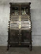 EARLY 1900'S INDUSTRIAL BRASS AND STEEL DENTAL CABINET / 12 DRAWERS . RESTORED!!