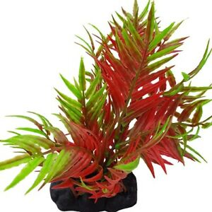 Red & Green Spiked Leaf Aquarium Plant 9-10 Inch, Artificial Fish Tank Ornament