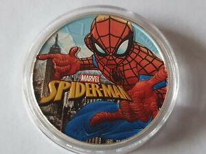 Spiderman Tuvalu Marvel 1 Unze Silbermünze Coloured Farbig 2017 in Kapsel