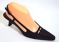 "Stuart Weitzman Black Patent leather/Fabric Slingback 2.5"" heel pumps 7.5AA Narr"