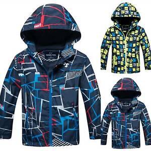 Kids Boys Fleece Hodie Snow Jacket Windproof Rain Coat Waterproof School Outwear