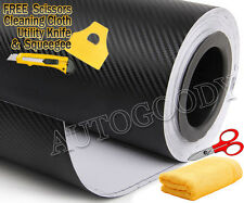 "24"" x 60"" Black Carbon Fiber Vinyl Film Wrap 3D Bubble Free Air Release 2ftx5ft"