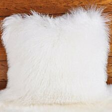 "Handmade Mongolian Fur 16""x16"" Square White Pillow Cushion 40X40cm & fabric back"