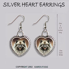 Keeshond Dog - Heart Earrings Ornate Tibetan Silver