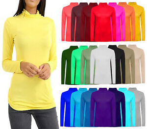 Womens Long Sleeve Polo Neck Top T Shirt Ladies Polo Turtle High Neck Top UK8-26