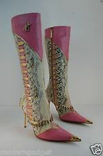 SUPER GORGEOUS !!! HAMLET COUTURE  PYTHON AND CRYSTAL BOOTS EU 38 US 7.5