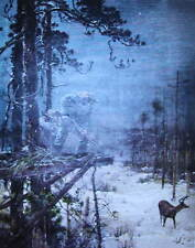 vintage art by A.B. Frost Hunter in tree stand deer