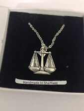 "Libra PP-SS09 Emblem Silver Platinum Plated Necklace 18"""