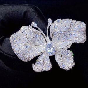 Luxury! Butterfly Brooch, Synthetic Cubic Zirconia Brooch, S925 Sterling Silver