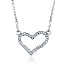 OPEN HEART .925 STERLING SILVER CZ STONE PENDANT NECKLACE CHAIN JEWELRY SS2061