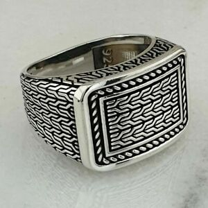 Solid Sterling 925 Silver Men's Jewelry Elegant Braided Men's Ring