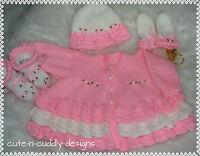 Baby /Reborn doll designer knitting pattern Cardigan/hat/Mitts/bootees