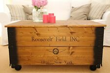 Coffee Table Wooden Box Chest Vintage Shabby Chic Country Solid Wood Brown Old