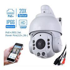PoE PTZ IP Camera 20x Optical Zoom HD 1080P 2.0MP Invisibility 495ft IR Audio UK