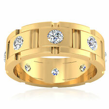0.88 ct Diamond Engagement Mens Rings 14Kt Yellow Gold Round Cut Band I-J Color