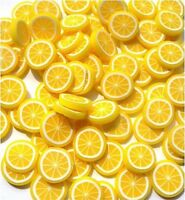 50 LEMON FLATBACK KITCH CABOCHONS FIMO POLYMER CLAY DECODEN - FAST SHIPPING