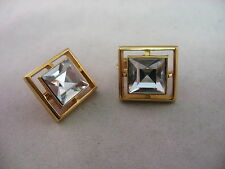 AVON Clear Faceted Jewel See Through Gold Tone Womans Earrings Clip On Jewelry