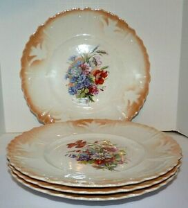 """Vintage Porcelain Luncheon Plates Set of 4 Floral Shadow-Painted  Scalloped 8.5"""""""