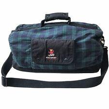 Vintage 90s Polo Sport Ralph Lauren Bear Duffle Bag Blackwatch Plaid Flannel