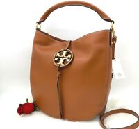 AUTH NWT $598 Tory Burch Miller Metal Logo Leather Large Hobo Crossbody