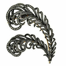 Estate Victorian 4.90Cts Natural Rose Cut Diamond Silver Feather Brooch Jewelry